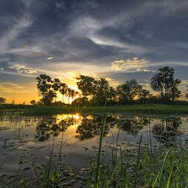 Sunset at Piali  by Bhaja Gobinda Chowdhury - Landscapes Cloud Formations