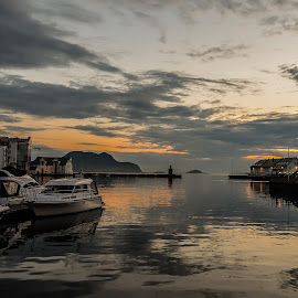Norwegian Sunset by Richard Michael Lingo - Landscapes Sunsets & Sunrises ( harbor, waterscape, sunset, landscape, aalesund, norway )