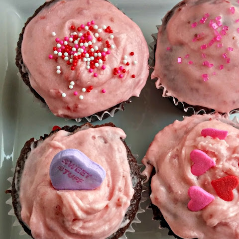Valentine's Day Strawberry Buttercream Cupcakes