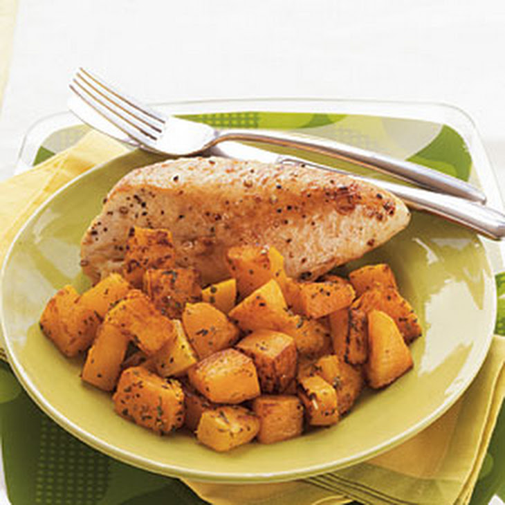 Roasted Chicken Breasts and Butternut Squash with Herbed Wine Sauce ...