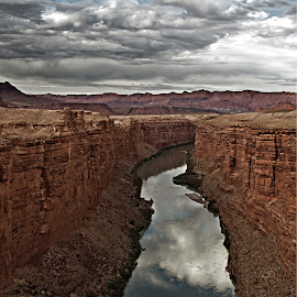Moody Navajo Crossing by Kevin Wemlinger - Landscapes Deserts ( colorado river, lees ferry, desert, marble canyon, arizona )