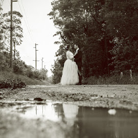Puddles by Mel Stratton - Wedding Other ( wedding, wet, puddle, bride, groom, rain )