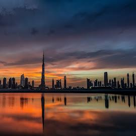 Dubai skyline c by Khalid Abdullah - City,  Street & Park  Skylines