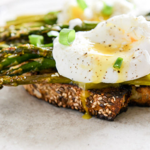 Roasted Sesame Asparagus Toasts with Poached Eggs