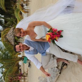 Caribbean Beach Wedding by Donna Chapman-Domitrek - Wedding Bride & Groom ( beach, handsome, bride, georgeous, groom )