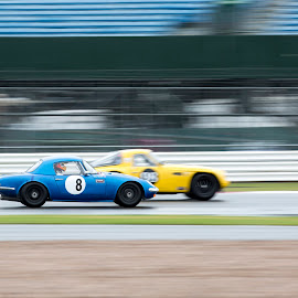 Overtake @ Silverstone  by James Perkins - Transportation Automobiles ( car, blue, race, classic, silverstone,  )