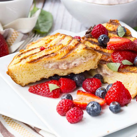Grilled French Toast Stuffed with Strawberry Basil Cream Cheese