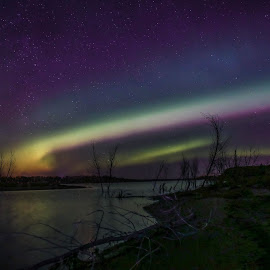 Ribbon by Laura Gardner - Novices Only Landscapes ( sky, stars, nd, colors, state park, northern lights, night, lake sakakawea )