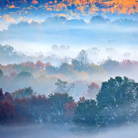Sunrise in the Valley by Herb Houghton - Landscapes Mountains & Hills ( fog, fall foliage, valley, sunrise )