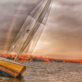 The boat and the rainbow by Howard Sr. - Novices Only Landscapes