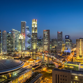 Singapore Central Business District City lights by Calvin Chan - Landscapes Starscapes ( office, boat quay, singapore central business district city lights blue hour nightscape skyline buildings street lights financial center architectural skyscraper, commercial tower )