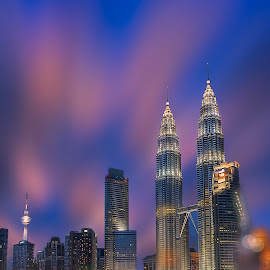 Dreamy Twin Tower by Tien Sang Kok - Buildings & Architecture Architectural Detail ( dreamy, building, long exposure, architecture, bokeh )