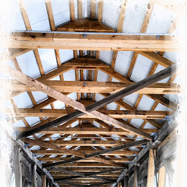 Under Cover by Melissa Davis - Digital Art Things ( covered bridge, harpersfield bridge, missysphotography, under bridge )