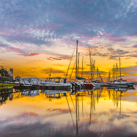 Sunrise by Peter de Groot - City,  Street & Park  Vistas ( water, orang, durban, sunrise, boat )