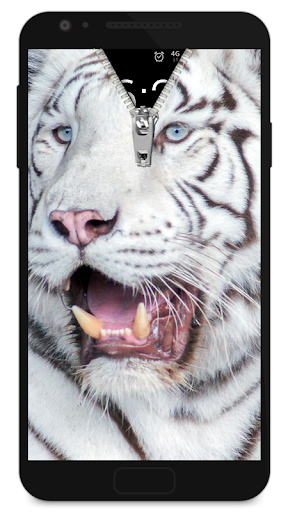 Zipper Lock Screen White Tiger screenshot 1