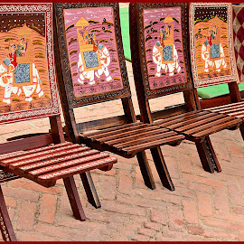 Painted Wooden Chairs by Prasanta Das - Artistic Objects Furniture ( chair, wooden, painted, artistic )
