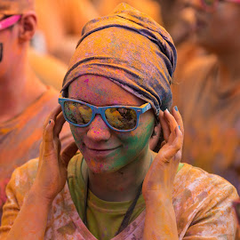 Colour Me Rad in Calgary by David Kotsibie - People Street & Candids ( colour, orange, colourful, glasses, colorful, color, powder, festival, smile, race, sunglasses )