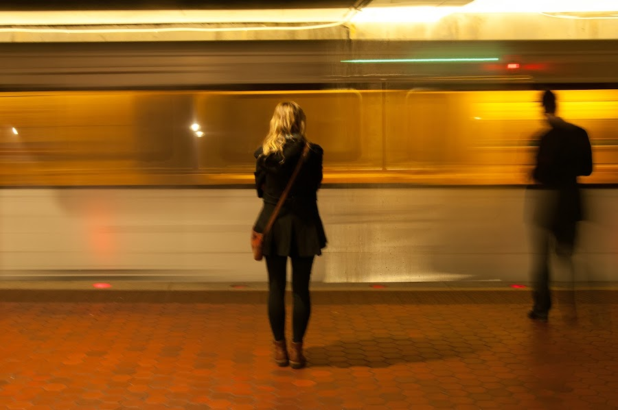 Waiting for the train... by Bob Stafford - People Fine Art ( abstract, girl, subway, handheld, blond, people )