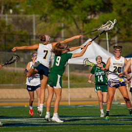 Out of Reach by Kevin Mummau - Sports & Fitness Lacrosse ( wow, effort, girls sports, lacrosse, jump )