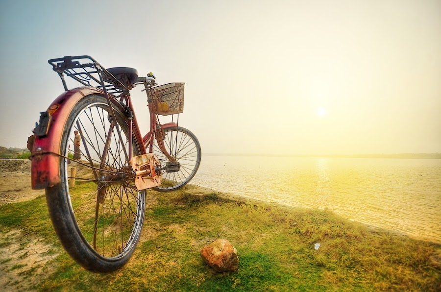 Wanna Swim by Oms Datum Photography - Transportation Bicycles ( sunset, transportation, sun )