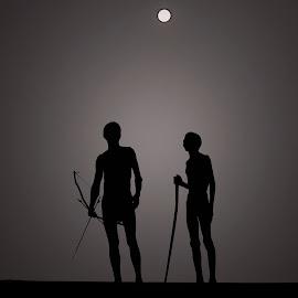 Full moon in the Kalahari by Ferdinand Veer - People Group/Corporate ( san, bushmen, people, kalahari, culture )