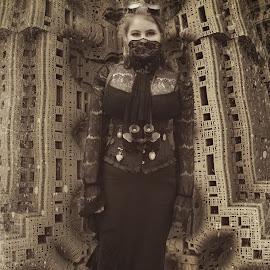fractions by Kathleen Devai - Digital Art People ( vintage, metal, woman, art, lincolnasylum, steampunk, portrait )