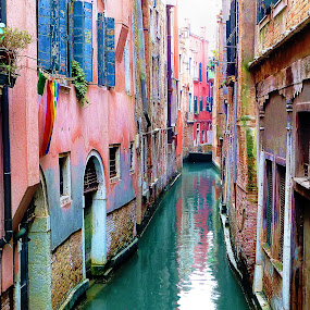 The Canals of Venice by Pieter Arnolli - Buildings & Architecture Public & Historical ( water, houses, europe, venice, pink, historical, italy, canal )