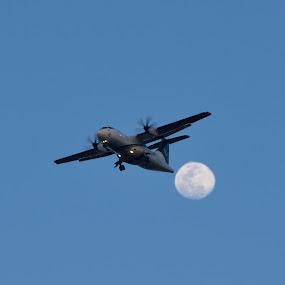 Air plan & Moon by Tahir Sultan - Transportation Airplanes ( #pia, #nikon, #skys, #moon, #airplan,  )