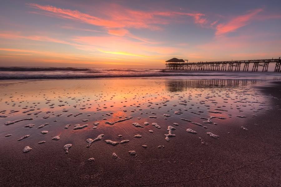 Cocoa Beach Pier Sunrise by R Jay Prusik - Landscapes Sunsets & Sunrises ( waterscape, florida, pier, sunrise, cocoa beach )