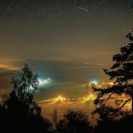 Mystical night by Michaela Firešová - Landscapes Starscapes ( night, stars, landscape, lights )
