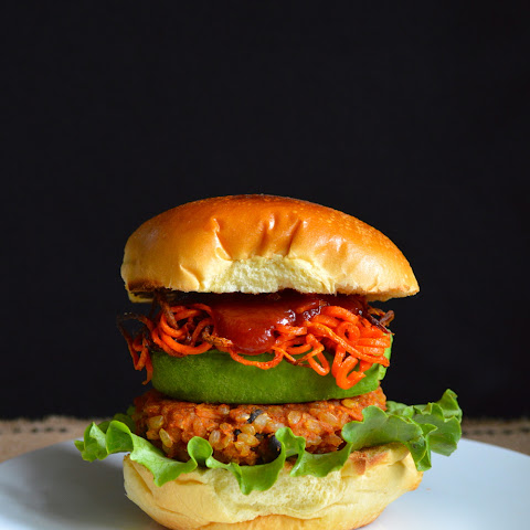Sweet Potato Veggie Burger with Shoestring Carrots
