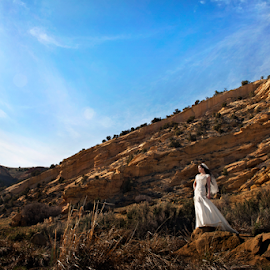 by Melissa Papaj - Wedding Bride ( model, mountains, married, girl, bridal, female, woman, wedding, red rock, bride, landscape )
