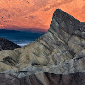 Zabriskie by Nancy Arehart - Landscapes Deserts ( death valley, view from above, zabriskie, texture, sunrise )