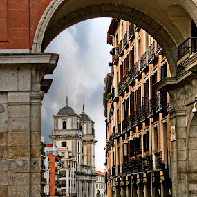 Majistic Madrid  by Vicki Overman - Buildings & Architecture Public & Historical ( madrid spain, tower, plaza mayor, archway, spain )