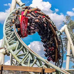 Upside down by James Booth - City,  Street & Park  Amusement Parks ( theme park, roller coaster, inversion, thrill, loop the loop, rides )