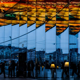 Viennese Repeat by Donald Ogg - City,  Street & Park  Street Scenes ( colour, abstract, mirror, blue, street )