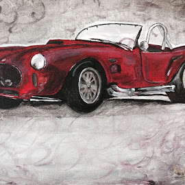 Shelby Cobra by Raymond Paul - Transportation Automobiles ( shelby cobra, shelby, nice car, fast cara, expensive car, red convertible )