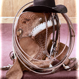 A Cowhand's Gear by Lawrence Burry - Artistic Objects Other Objects ( lariat, cowboy hat, stirrups, rope, vintage, saddle, grain, lasso, tack, leather, photo by: l. burry, western hat )