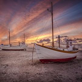 Nordvest and Anna by Ole Steffensen - Transportation Boats ( nordvest, jammerbugten, slettestrand, sunset, ships, denmark, beach, fishing boat )
