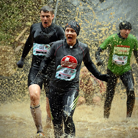 Christine In Front ! by Marco Bertamé - Sports & Fitness Other Sports ( water, splatter, splash, number, 923, soup, running, escape, gree, muddy, red, strong, woman, three, 607, brown, strongmanrun, man )