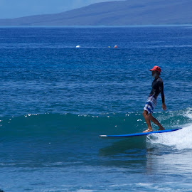Laid back dude by Dennis Rathbun - Sports & Fitness Surfing ( cool, maui, surfer, laid-back, red hat )