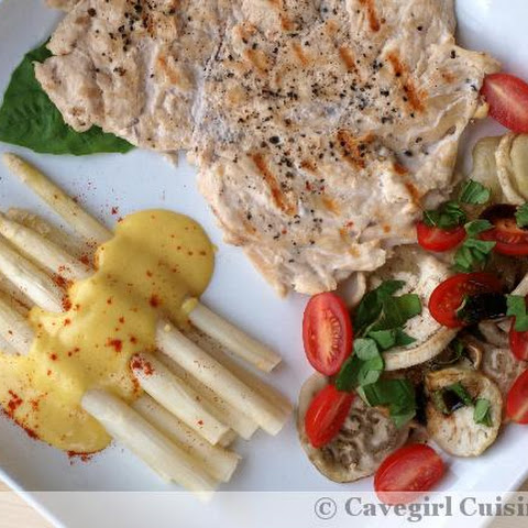 Grilled Chicken with White Asparagus & Eggplant