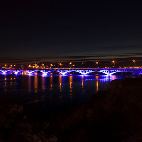 9th Street Bridge in Great Falls, MT at Night by Shane Vandenberg - Buildings & Architecture Bridges & Suspended Structures ( bridge )