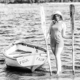Megan with Oars by Carl Albro - Black & White Portraits & People ( woman, beauty, boat, oars )