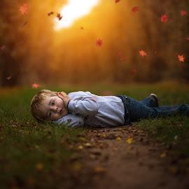 Rain of leaves by Piotr Owczarzak - Babies & Children Children Candids ( park, autumn, chhildren, boy )