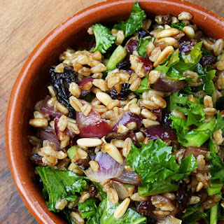 Farro Salad with Roasted Onion, Toasted Pine Nuts, Currants & Greens