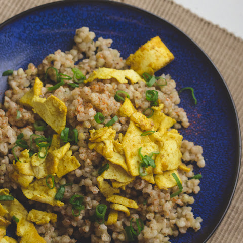 Savory Buckwheat Breakfast Scramble With Soft Fried Tofu And Scallion