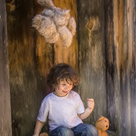 Throwing Teddy by Chris Cavallo - Digital Art People ( candid, barefoot, teddy bear, boy, jeans, laughter, digital art )