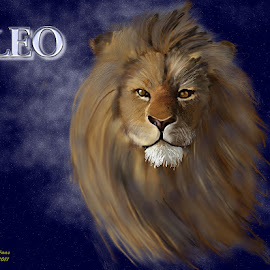 Celestial Leo by Diane Haas - Illustration Animals ( lion, zodiac, digtal painting, lion face, starry background )