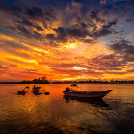 Sunset at fishing village by Albert Lee - Landscapes Sunsets & Sunrises